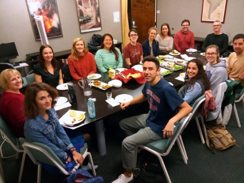 Linguistics students enjoy lunch with guest speaker Andrew Lynch